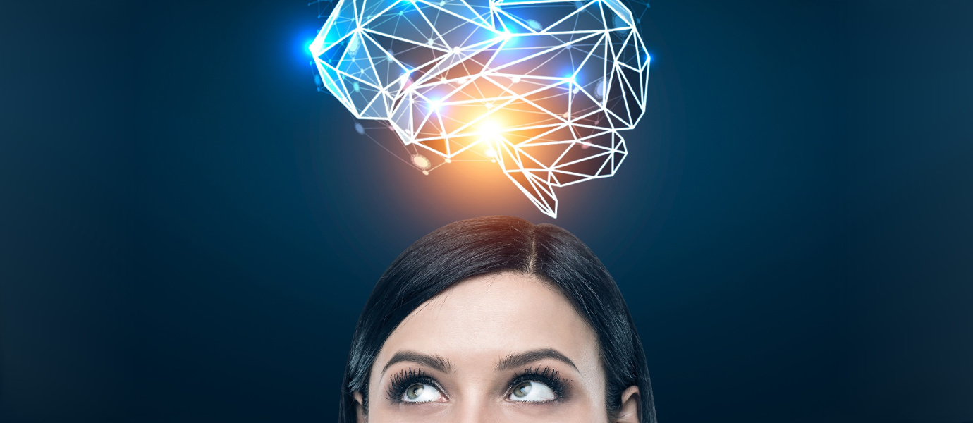 Woman's head with an enlightened brain above
