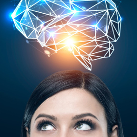 Woman's head with an electric brain above