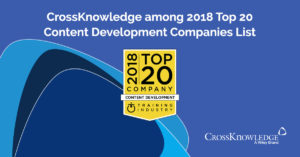 "CrossKnowledge recognized as one of the best providers in the ""Top 20 Content Development Companies List"" by TrainingIndustry.com Receiving this recognition for the fifth consecutive year confirms the excellence of our Content Development expertise."