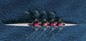 rowing team in the water