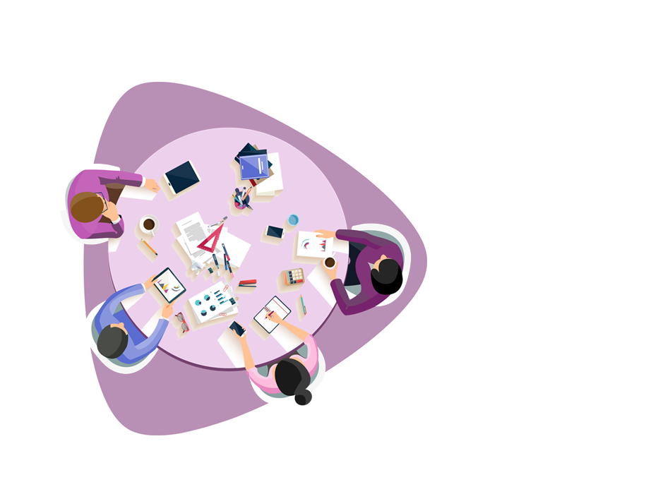 Partnering for Skills Acquisition - Purple drawing of working people seen from above