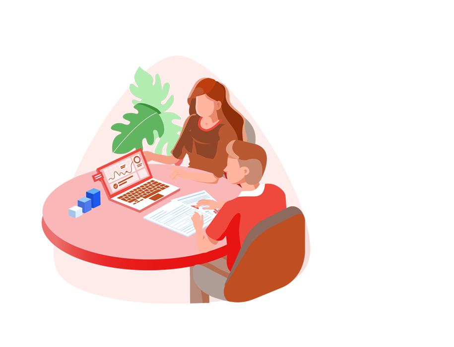 We're here to help you identify and focus on skills that your workforce need the most - Red illustration with people working on a desk